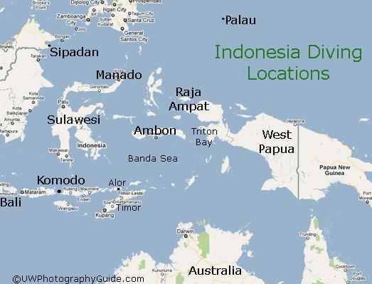 Corais de Raja Ampat: show da natureza, mapa de Raja Ampat, Indonesia