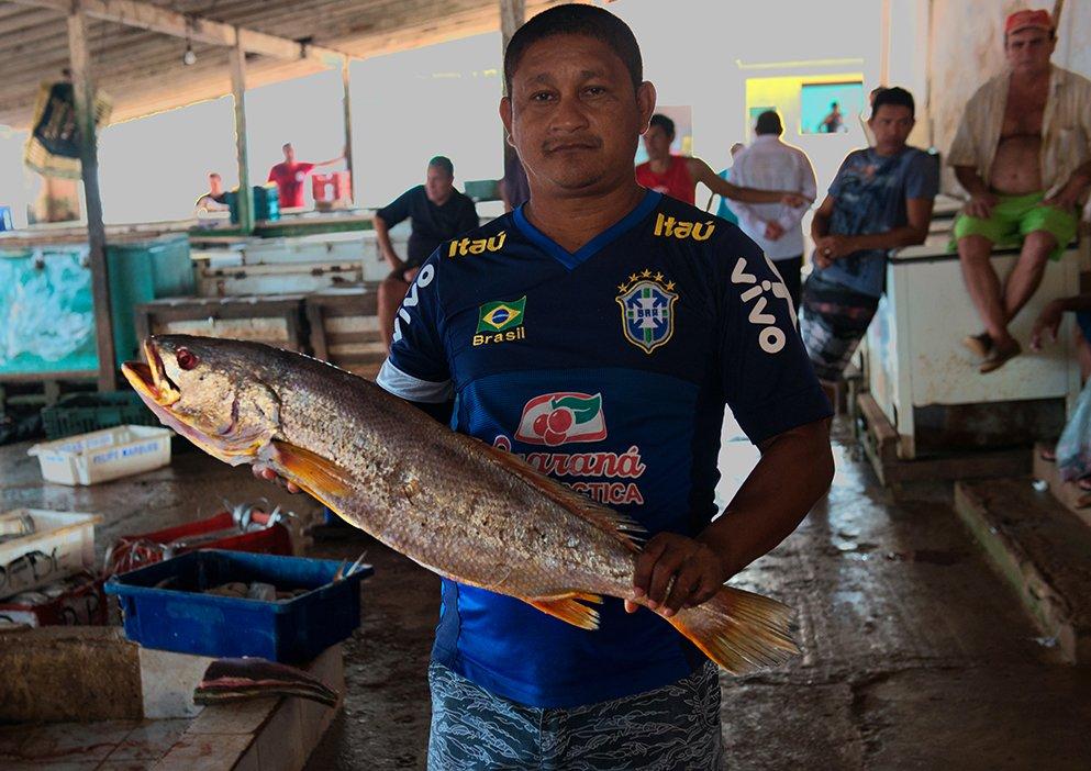 imagem de pescador com pescada amarela na Reserva Extrativista Mãe Grande de Curuçá