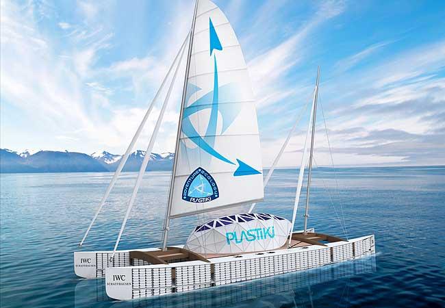 barco de plástico reciclado