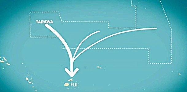 Kiribati: vítima do aquecimento global, mapa das ilhas Kiribati