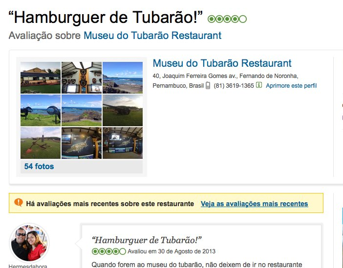 Costa brasileira, os dez maiores absurdos, imagem de anúncio de hambúrguer de tubarão em restaurante de fernando de noronha