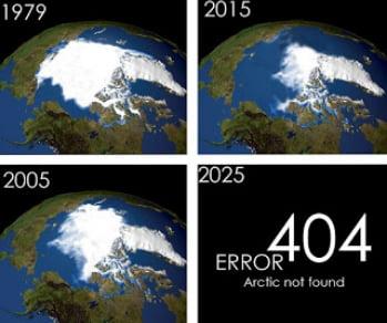 Mudanças climáticas, perdemos a guerra?, diagrama da diminuição de gelo no ártico
