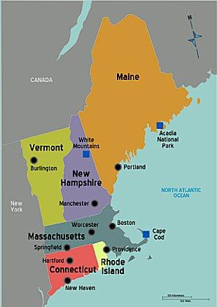 imagem de mapa de new england