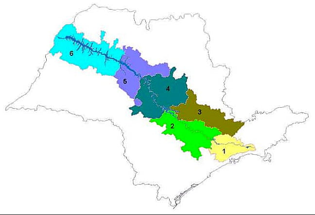 Os 25 anos do Núcleo União Pró Tietê, mapa mostrando o rio Tietê