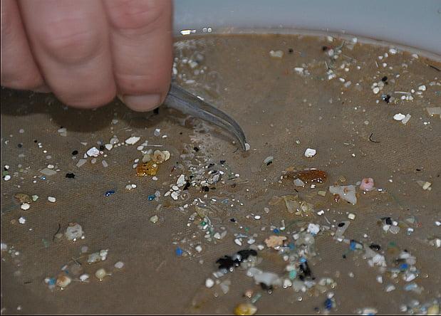 imagem de microplástico nos oceanos