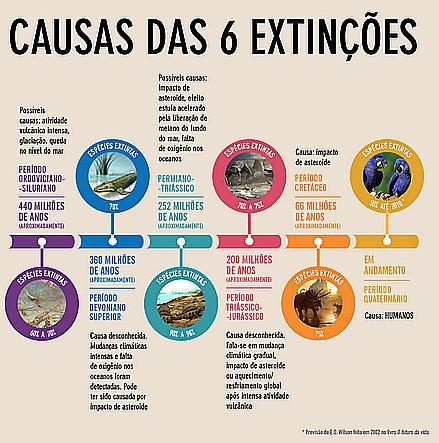 iustração sobre as seis extinções