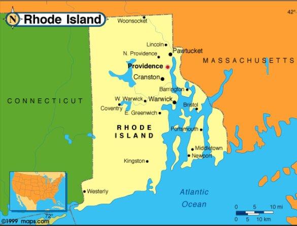 Energia eólica, o plano de Obama,imagem de mapa de Rhode Island