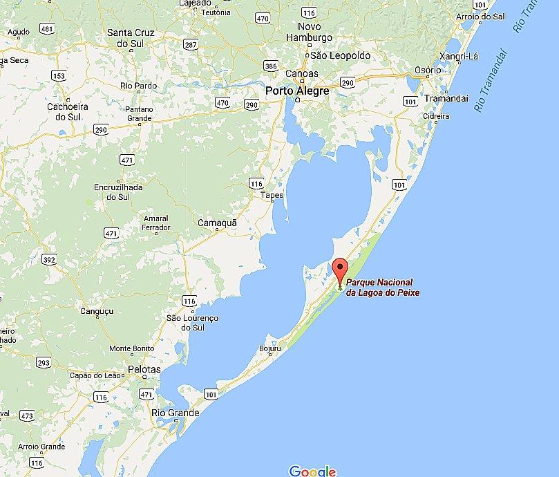 Parque Nacional da Lagoa do Peixe beleza desconhecida, mapa da localização do Parque Nacional da Lagoa do Peixe