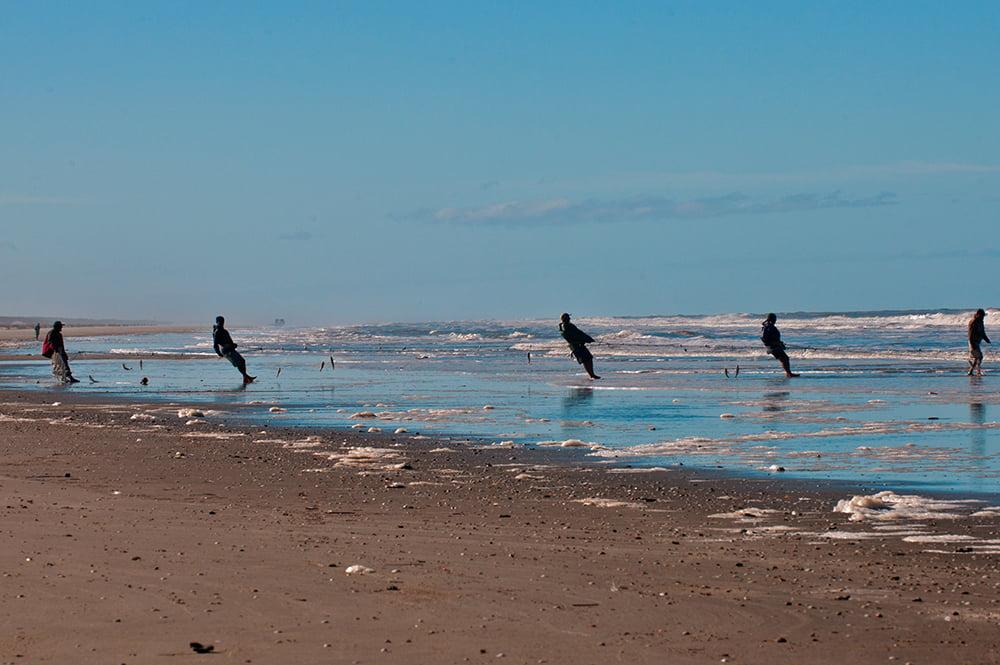 Falta fiscalização no litoral do Brasil, imagem de pescadores com rede na praia