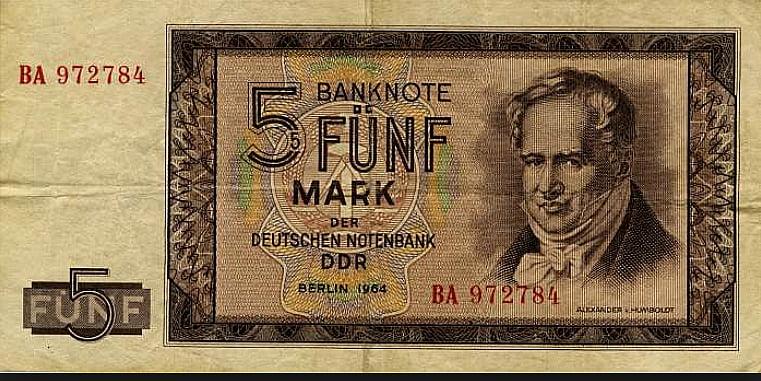 imagem de nota de marco alemão com a figura de Humbolt