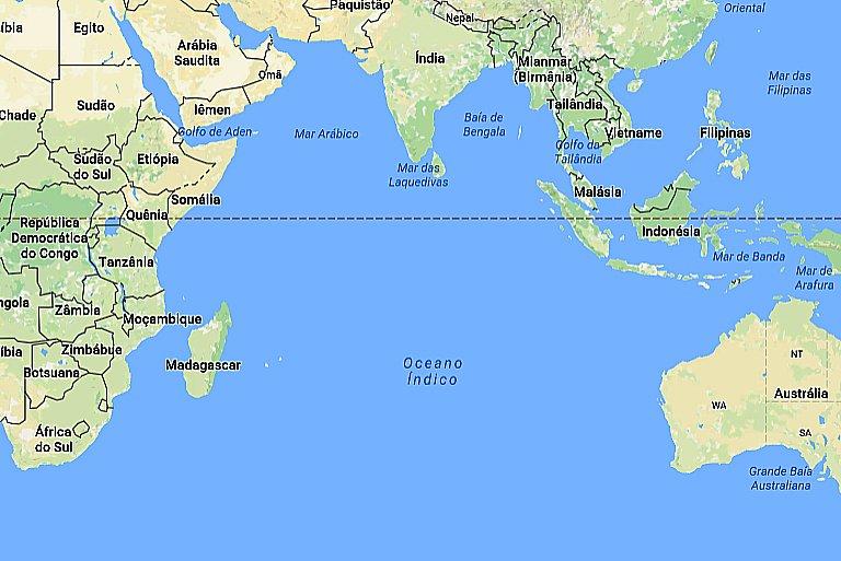mares e oceanos mais poluídos, imagem de mapa do oceano Índico