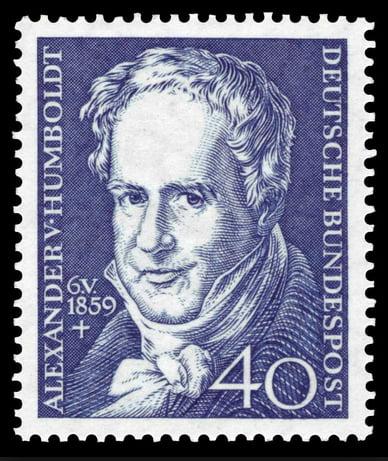 imagem de selo alemão com figura de Humbolt