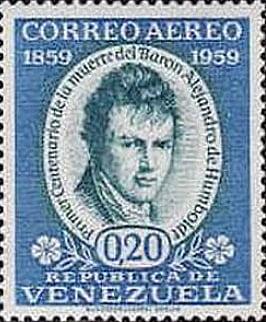 imagem de selo venezuelano com figura de Humboldt