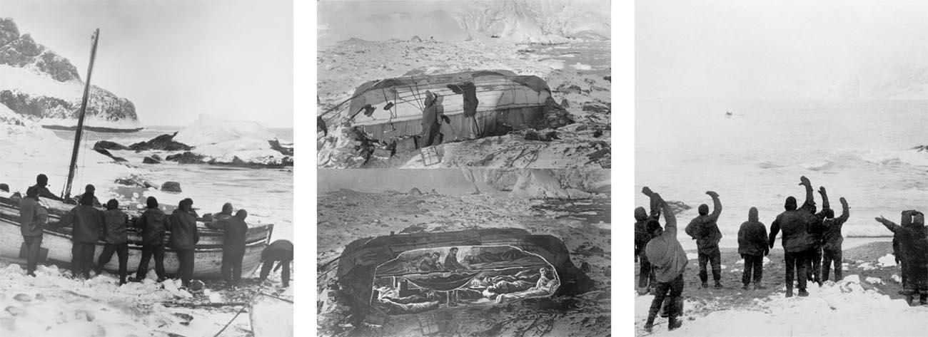 Imagem de Ernest Shackleton deixando a ilha Elephat