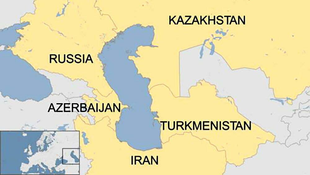 imagem de mapa do mar cáspio e países ao redor