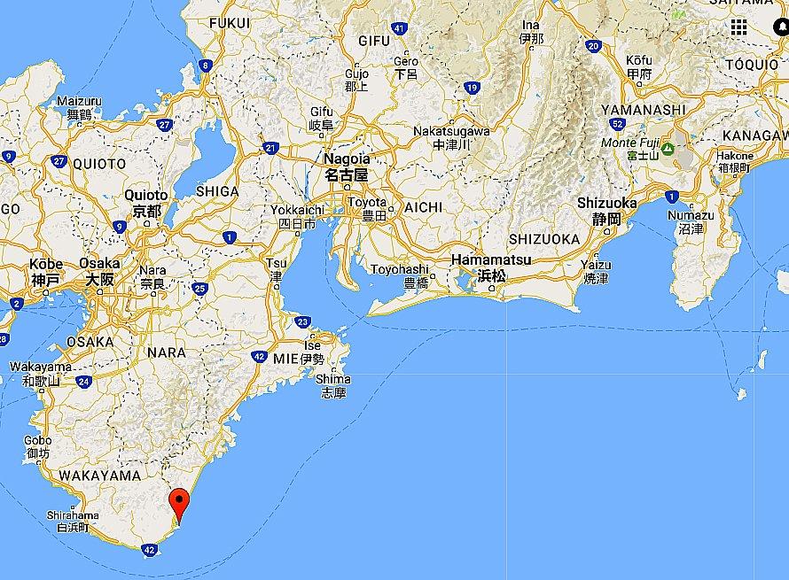 Golfinhos em cativeiro, mapa mostrando a enseada de Taiji, Japão