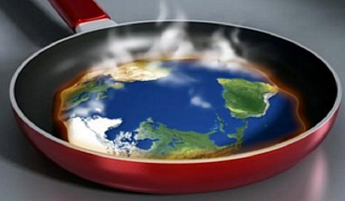 Aquecimento global 2016, ilustração mostrando um mapa mundo numa frigideira
