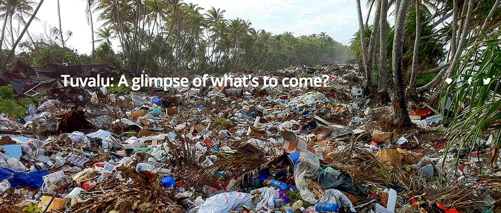 imagem de lixões formados de Plástico e Tuvalu, no Pacífico