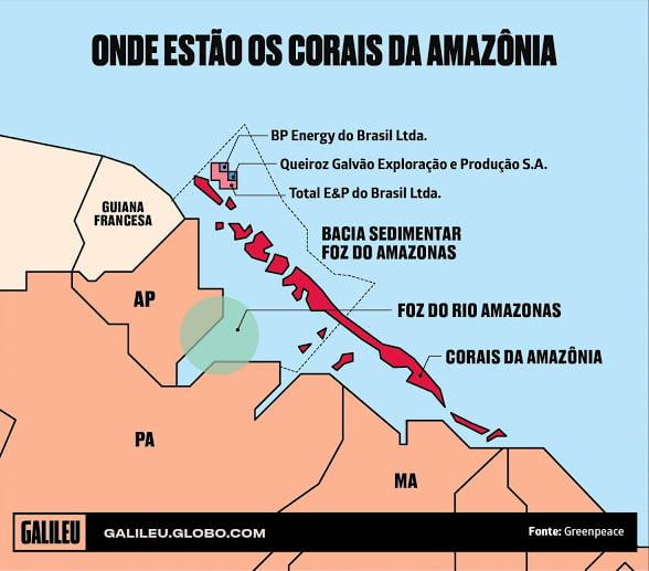 ilustração de mapa mostrando corais na foz do amazonas