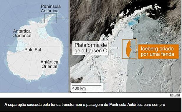 Iceberg maior do mundo, ilustração mostrando separação do maior iceberg do mundo
