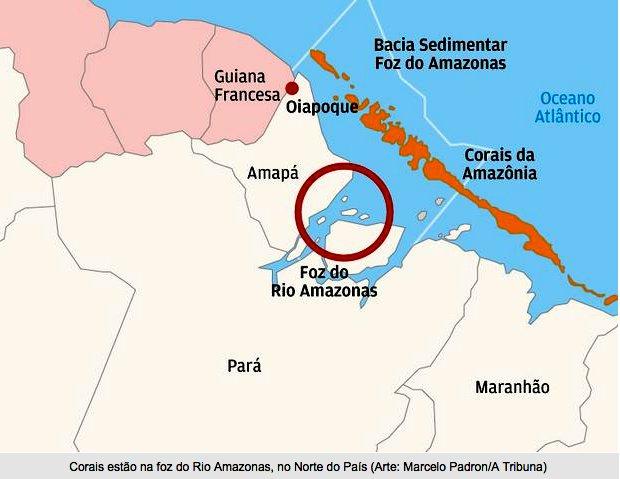 Corais na foz do Amazonas, imagem de mapa-dos-corais-na foz do amazonas