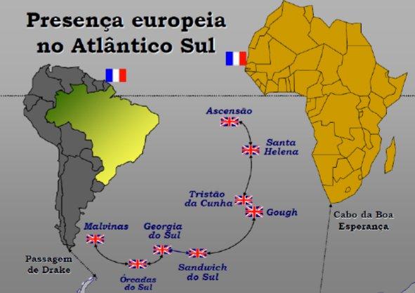 Ilhas do Atlântico Sul, ilustração mostrando as ilhas do atlântico sul