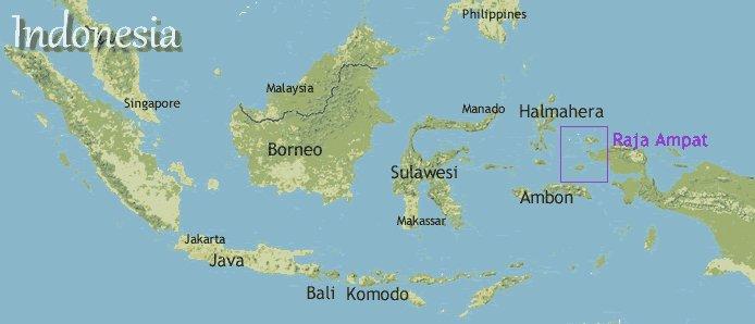 Corais de Raja Ampat, maoa mostrando as ilhas Raja Ampat