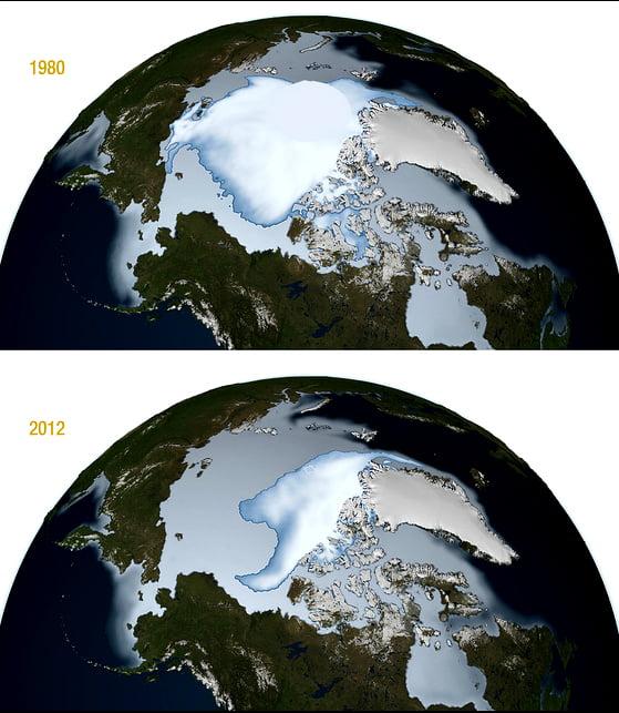 Expedição no Polo Norte, ilustração mostrando o gelo no polo Norte em 1980 e em 2012