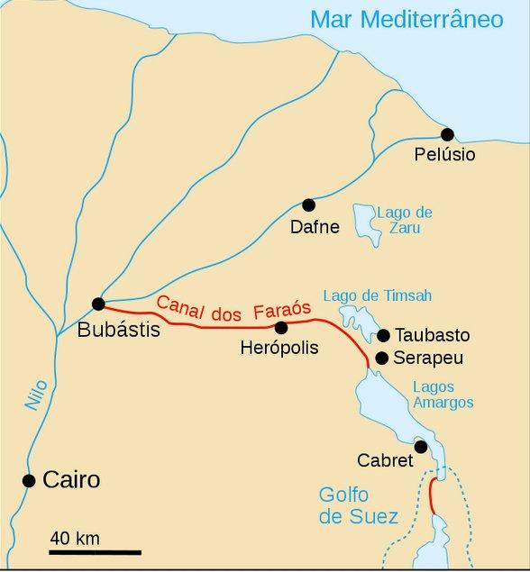O canal de Suez, mapa da região do canal de suez