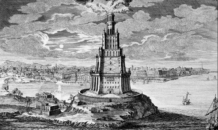 Ilustração da cidade e farol da Alexandria