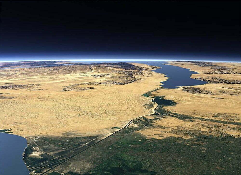 imagem aérea do canal de Suez