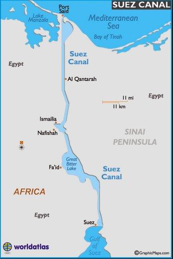 O canal de Suez, mapa mostrando o O canal de Suez