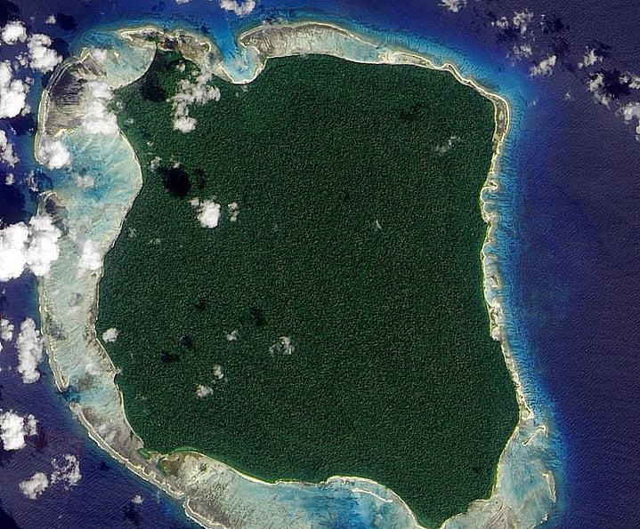 Descoberta a ilha Utopia: Sentinela do Norte, Índico, imagem aérea da ilha sentinela do norte