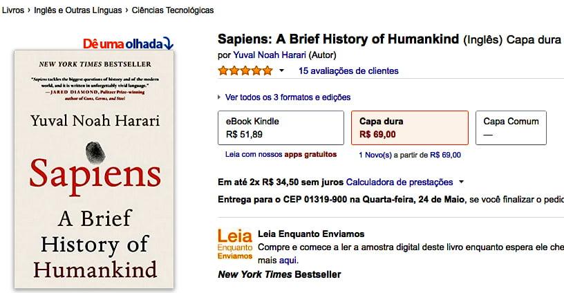 imagem de livro homo sapiens em anúncio da Amazon