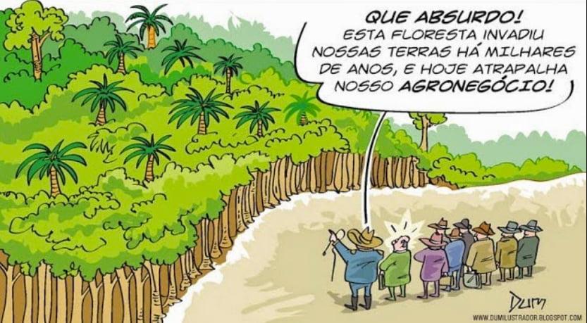 ruralistas, charge mostrando ruralistas contra florestas
