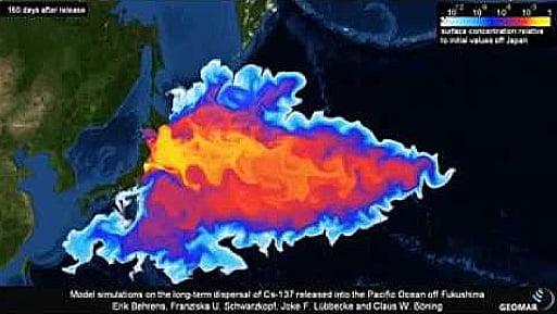Desastre de Fukushima, ilustração da radiação pelo pacífico