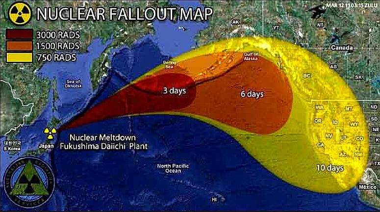 Desastre de Fukushima, ilustração de gráfico mostrando a radiação de Fukushima