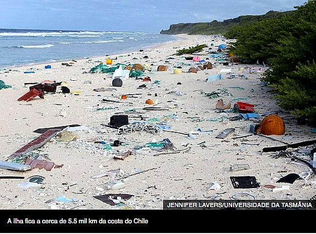 Ilha Henderson- Pacífico, imagem de praia da ilha Henderson cheia de plástico
