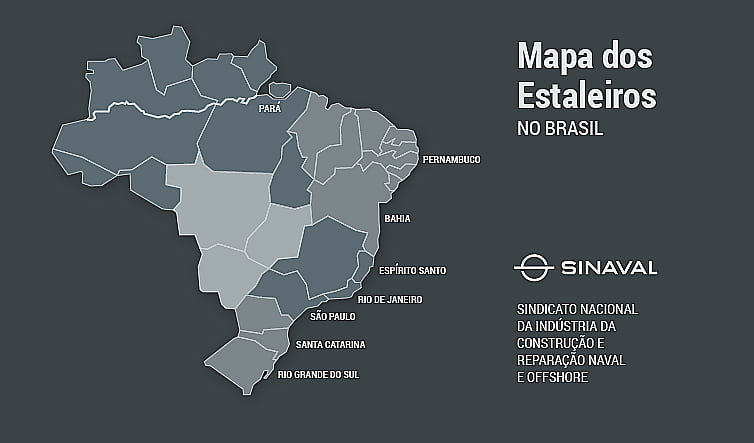 Indústria Naval brasileira, ilustração com mapa dos estaleiros do Brasil