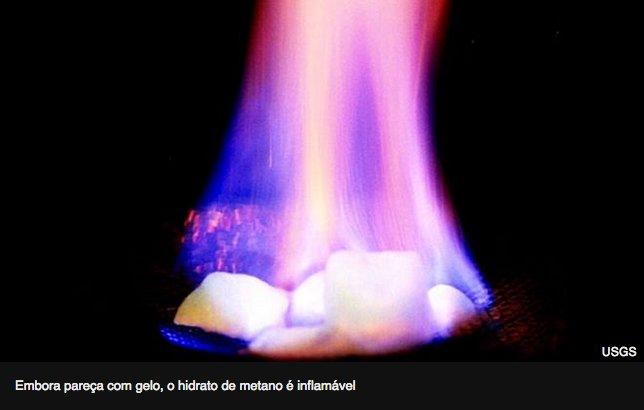 Gelo combustível, China extrai do fundo do mar, imagem de hidrato de metano