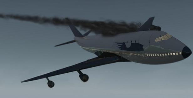 Triângulo das Bermudas, ilustração de avião em chamas caindo
