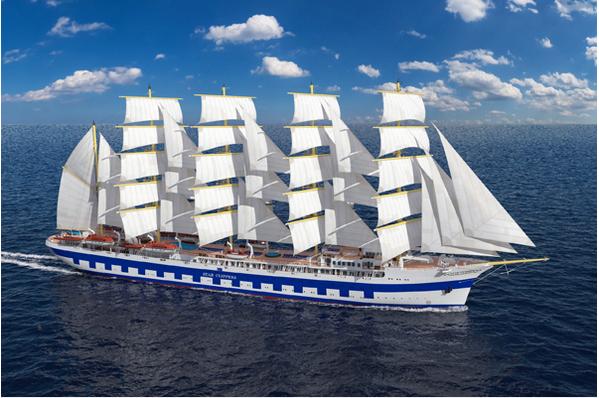 Maior navio a vela do mundo, ilustração do navio Flying Clipper