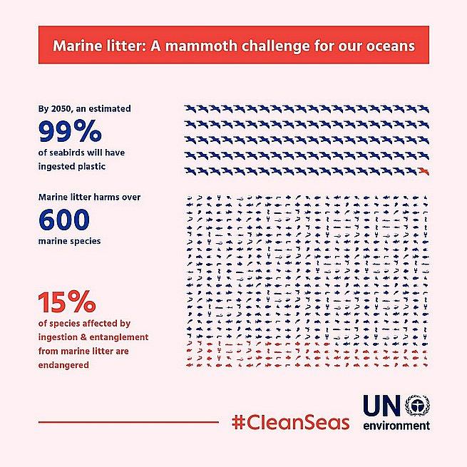 imagem de gráfico mostrando plástico ingerido por peixes e aves marinhas