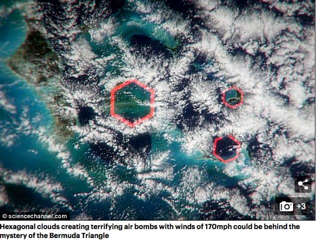 Triângulo das Bermudas, imagem de nuvem hexagonal