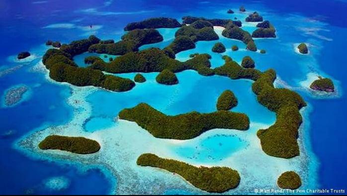Aquecimento global ameaça Patrimônios Nacionais, imagem de ilha de Palau