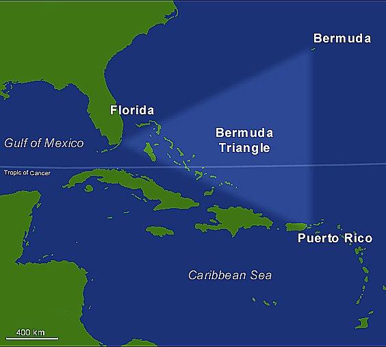 Triângulo das Bermudas, mapa do Triângulo das Bermudas
