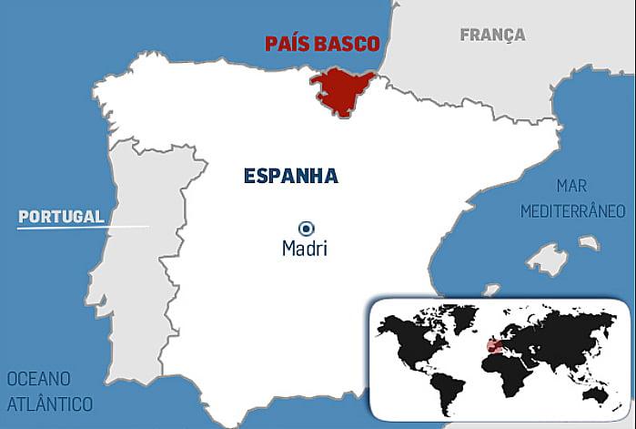 Bacalhau, mapa mostrando o país basco