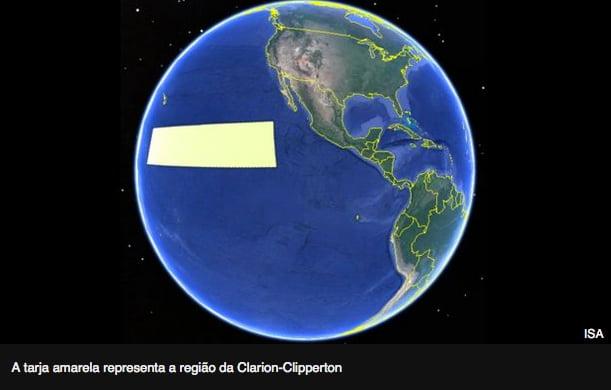 ilustração da região Clarion Clipperton, no oceano Pacífico