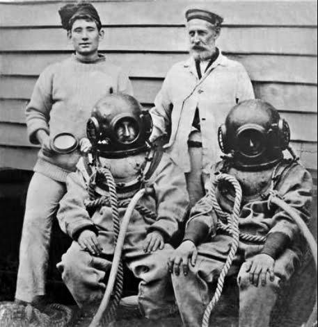 Jacques Cousteau, um surpreendente inventor, imagem de antigos mergulhadores