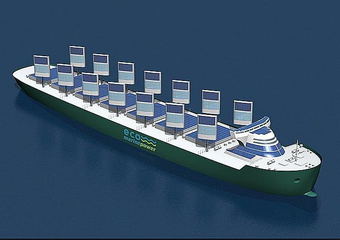 desenho de navio moderno movido a energia eólica